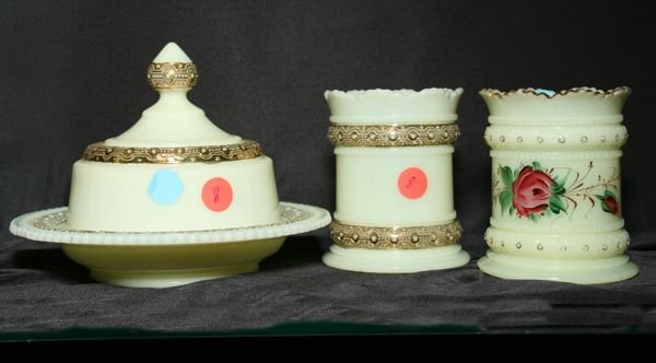1008: Lot of 3 matching custard glass pieces, signed He