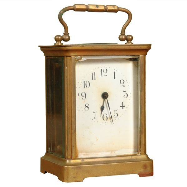 1017: Victorian carriage clock, Solid brass. Heavy Fren