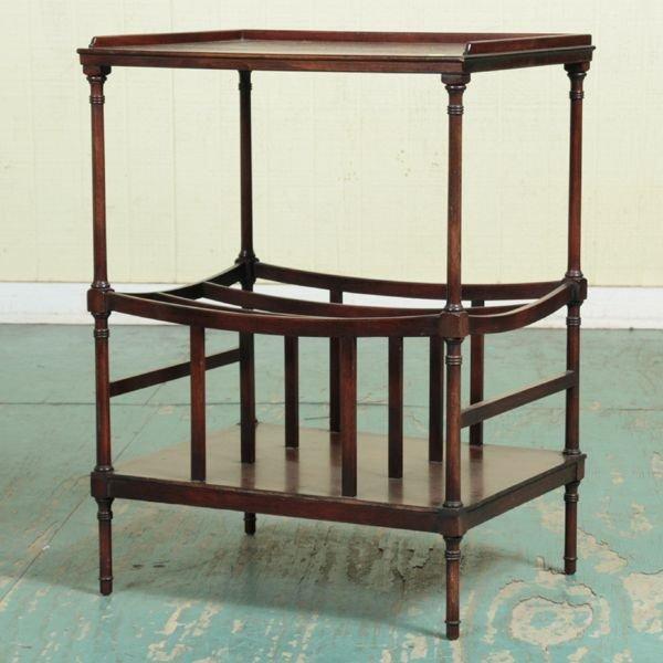 1019: Mid 1900 Sheraton style Canterbury/tea table, mah