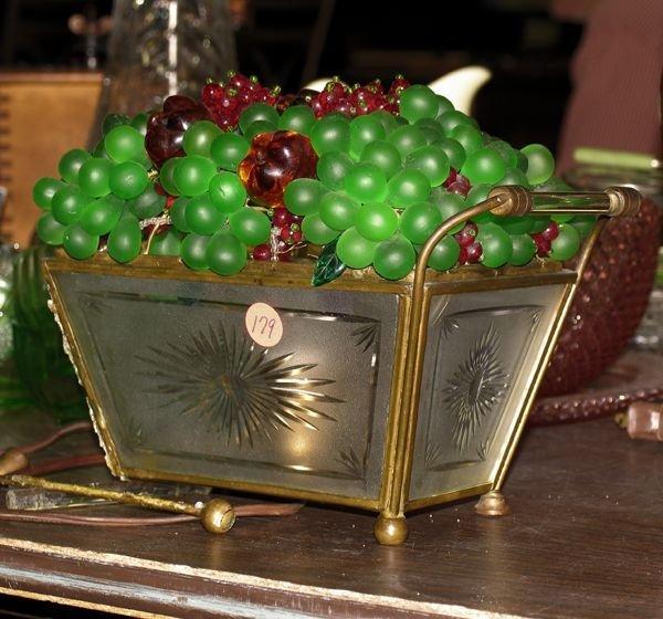 1179: Mid 1900 cut glass lamp in shape of fruit basket,