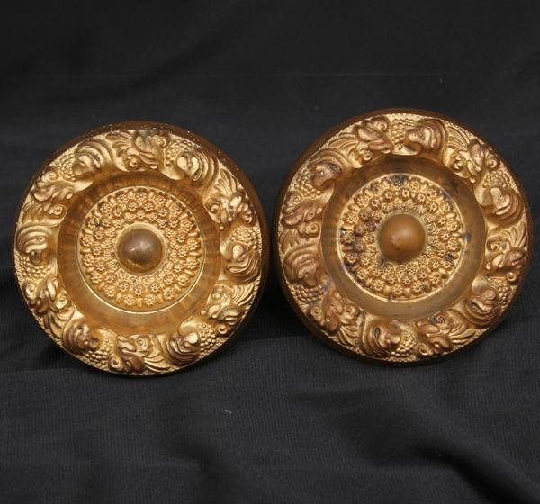 2: Pair of early 1800's repousse curtain tiebacks, 3 /2