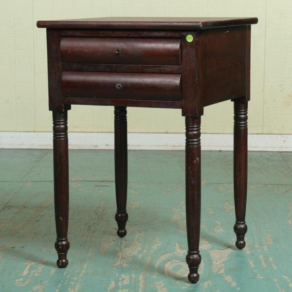 4: Early 1800's Sheraton two drawer stand, solid cherry