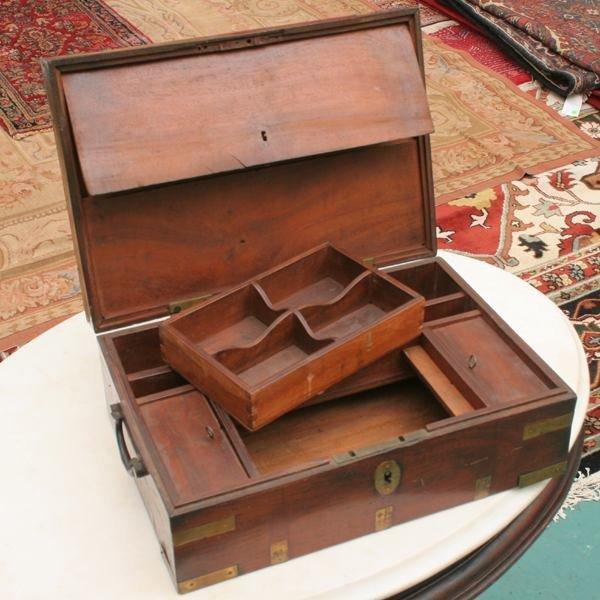 6: Fine early 1800's campaign box, high grade mahogany,