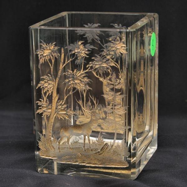 8: Small cut glass square vase, fine intaglio cut sceni