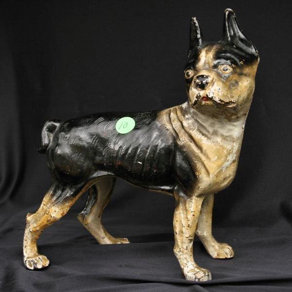 10: 19th century cast iron Boston terrier doorstop, bla
