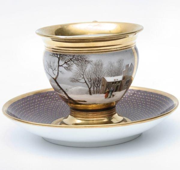 12: porcelain cup and saucer, old paris, Feuillet,1817-
