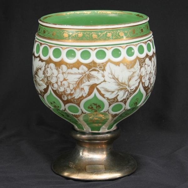 16: Mid 1800's chalice, white cut to opaque green, gilt