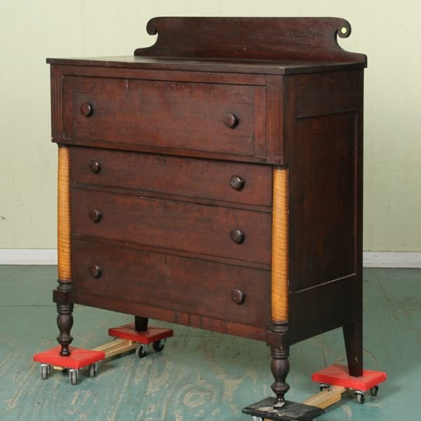 17: Early 1800 Sheraton four drawer butler desk, solid