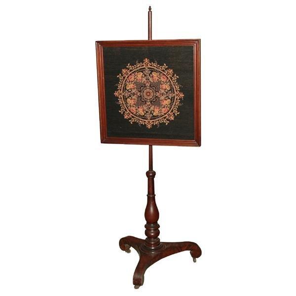 """20: Early 1800 Empire pole screen, solid mahogany, 24"""""""