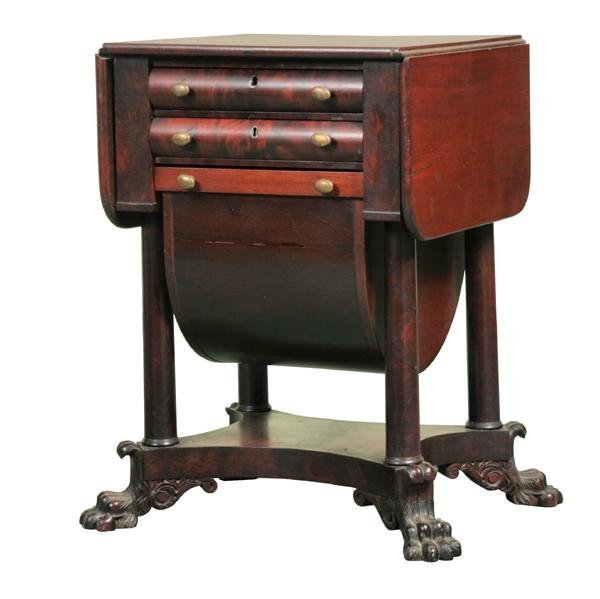 22: Exceptional early 1800 federal workstand, three dra