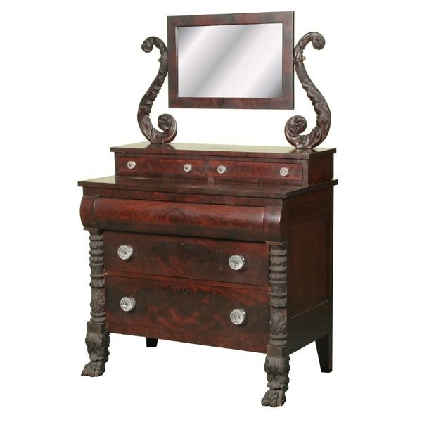 24: Excellent 1830 carved Federal dresser, flame and so