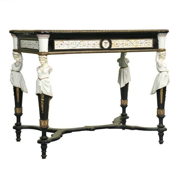 68: 1870 Renaissance Victorian parlor table, porcelain,