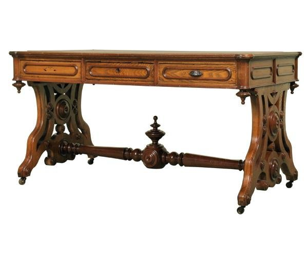 103: 1870 Renaissance Victorian library table, solid ch