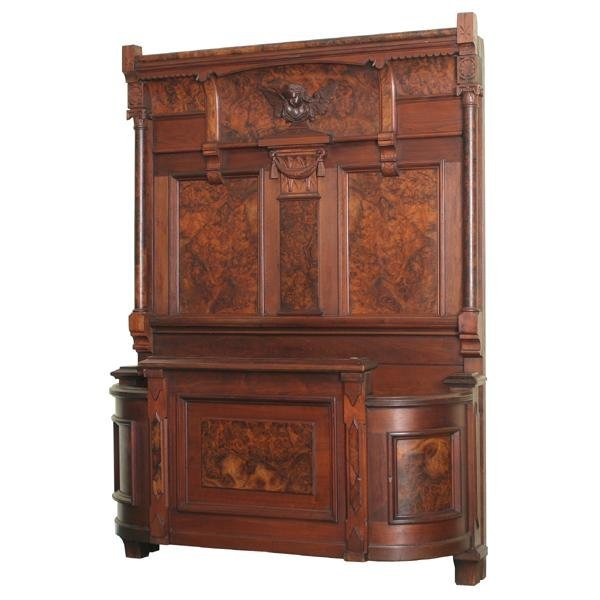 115: Late 1800 Eastlake Victorian bed, solid walnut, be