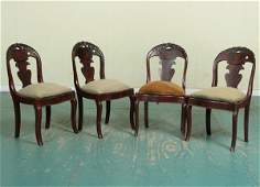 129: Lot of four mid 1800 Empire dining chairs, solid f