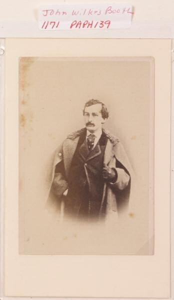 """2: Photograph purportedly of John Wilks Booth. 2 3/8""""w"""