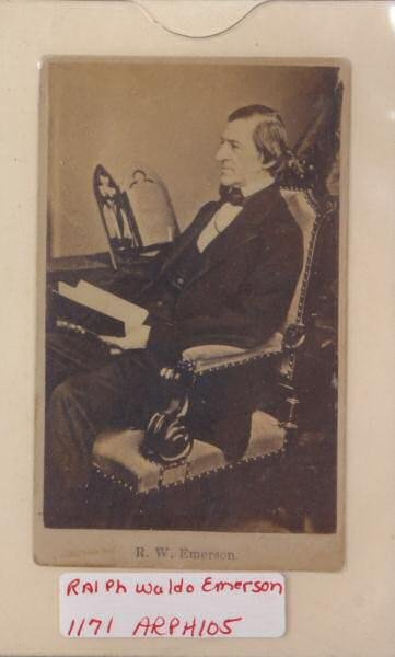 4: Photograph of Ralph Waldo Emerson. 1870's, seated in