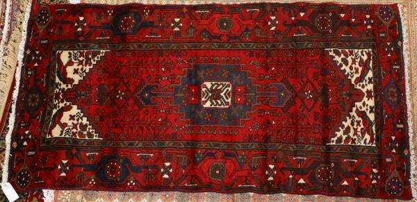 "5: 6'6"" x 3'6"" Handmade Persian old Bidjar rug. Red fie"