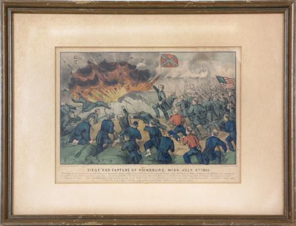 """12: Currier and Ives civil war print. """"Siege and captur"""