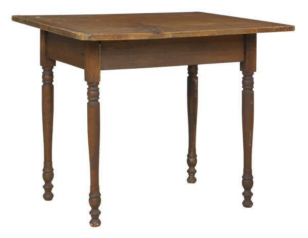 15: Mid 1800's Sheraton tavern/work table. Pine two boa