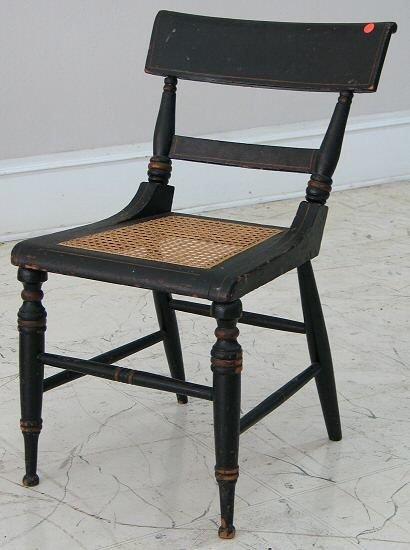 16: c. 1830 Empire chair. Baltimore, original ebony pai