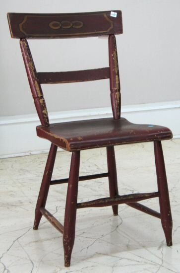 17: Mid 1800's plank seat chair. Old red paint with gol