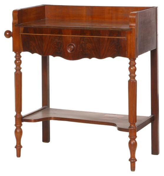 21: c. Mid 1800's one drawer washstand. French, flame a