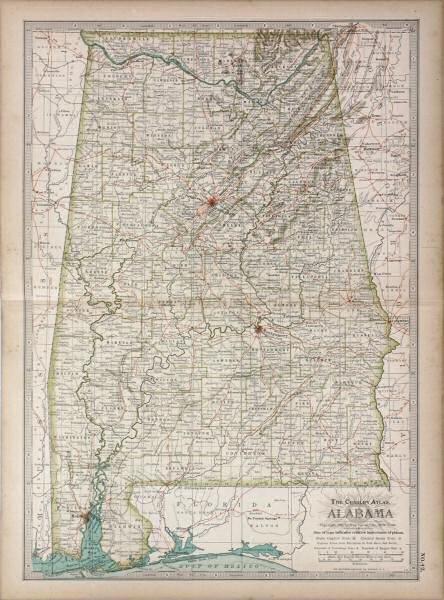 25: 1897 Alabama map. The Century Atlas, New York. 11 3