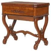 50: c. Mid 1800's Empire fold over work table. Beautifu