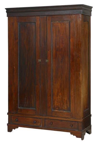 102: c. Mid 1800's double door armoire. Solid walnut, b