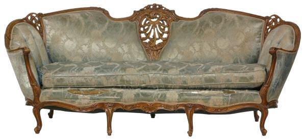 120: c. Early 1900 Rococo style sofa. Fruit wood, pierc