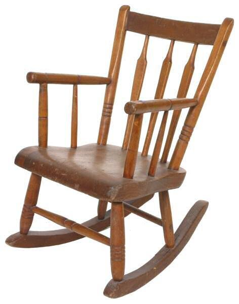 404: Early 1800's Windsor child's rocker. Thumb back, a