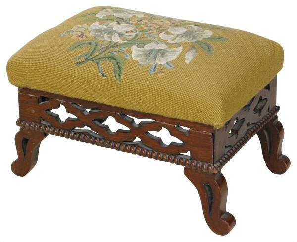 413: c. Mid 1800's Gothic foot stool. Solid walnut, ret