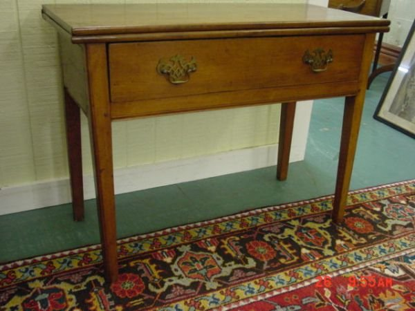 417: 18th Century Chippendale fold over card table. Sol