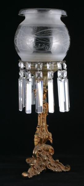 421: c. Mid 1800's Rococo astral lamp. Heavy cast bronz