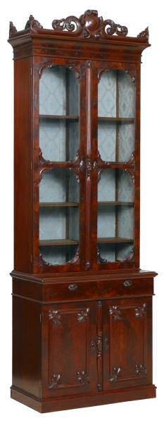 "424: Excellent c. 1860 Rococo cabinet. 9't 36""w beautif"