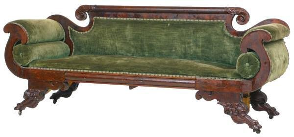 441: c. 1830 Carved Federal sofa. Flame and solid mahog