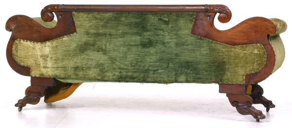 441: c. 1830 Carved Federal sofa. Flame and solid mahog - 5