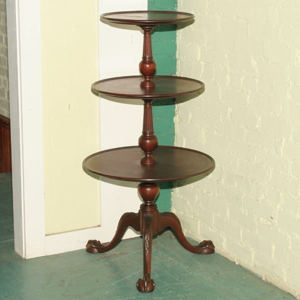 1002: Early 1900's Chippendale Revival three tier servi