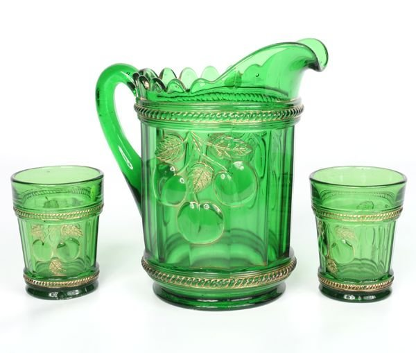 1006: C1900's water pitcher and two tumblers, Northwood