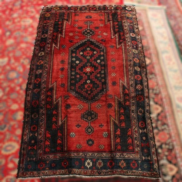 """1012: Persian handknotted wool rug, 5'9"""" x 10'4"""", rust"""
