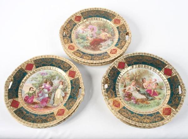 1015: Lot of eight porcelain plates, Austria, blue beeh
