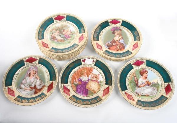 1016: Lot of twelve porcelain plates, Austria, blue bee
