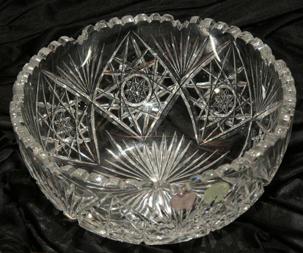 1021: Brilliant cut glass bowl, hobstar and fan pattern