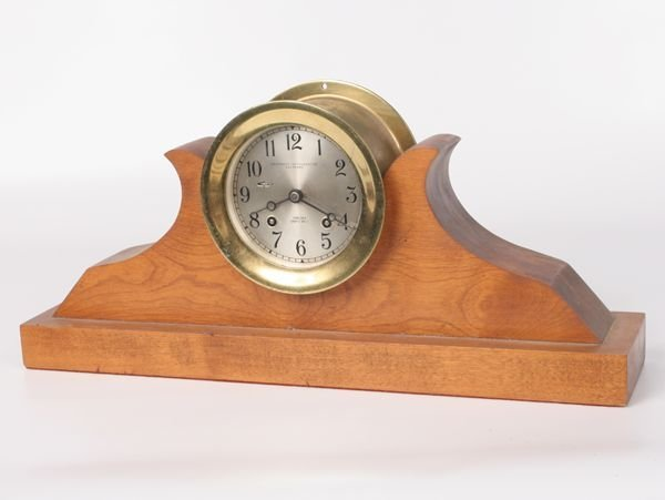 """4: 19th century ships clock, solid brass, """"Chelsea, shi"""