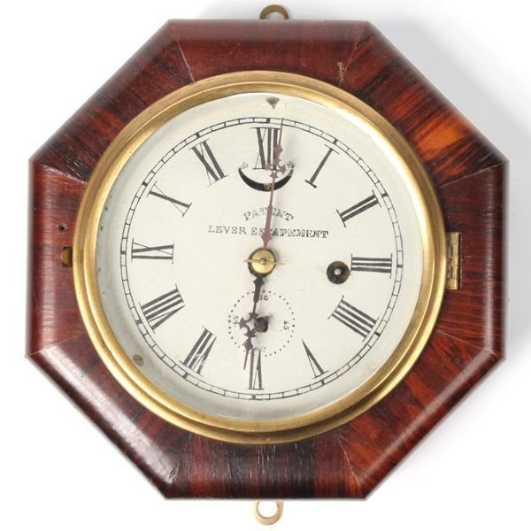 """5: Mid 1800's small octagon wall clock, rosewood, """"Pate"""
