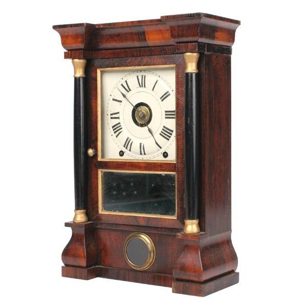 6: Mid 1800 Empire shelf clock, rosewood, full ebonized