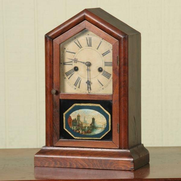 7: Mid 1800's pediment mantle clock, brass movement wit