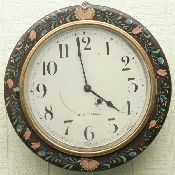 "9: 19th Century galley clock, ""Seth Thomas"", brass move"