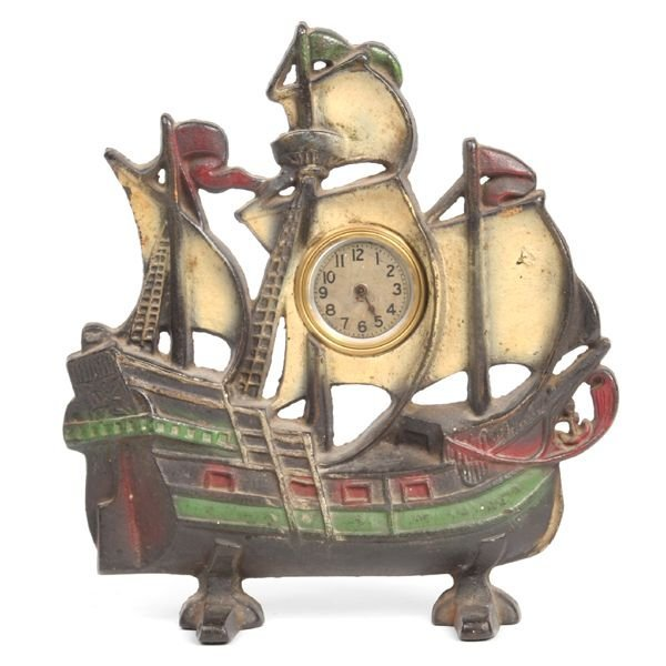 "10: Early 1900's cast iron galleon clock, 2 1/2""diamete"